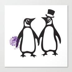 Wedding Penguins, animal lovers, wedding gift, animal illustration, zoo gift Canvas Print