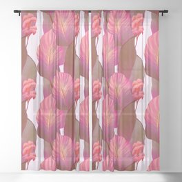 Canna Tropicanna Floral in Pink #6 Sheer Curtain