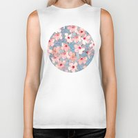 shabby chic Biker Tanks featuring Shabby Chic Hibiscus Patchwork Pattern in Pink & Blue by micklyn