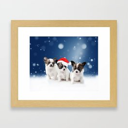 Chihuahua Puppy Dogs Snow Stars Blue Christmas Framed Art Print