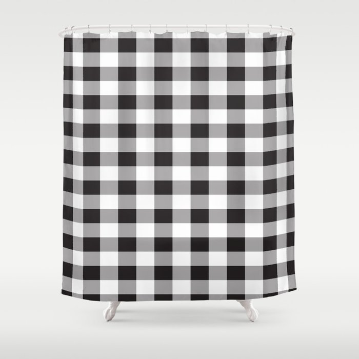 Black Buffalo Plaid Pattern Shower Curtain