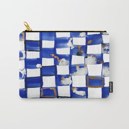 Blue and White Checks Carry-All Pouch