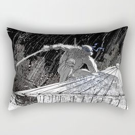 Black and White Ninja Turtle Leonardo Rectangular Pillow