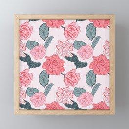 Roses and leaves Framed Mini Art Print