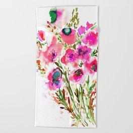 Bouquet Pink Beach Towel