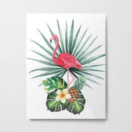 Tropical pattern with flamingo Metal Print