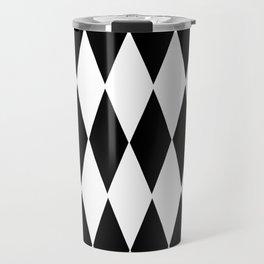 LARGE  WHITE AND BLACK   HARLEQUIN DIAMOND PATTERN Travel Mug
