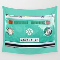 volkswagen Wall Tapestries featuring Adventure wolkswagen. Summer dreams. Green by Guido Montañés