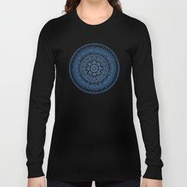 Blue Mandala Pattern Long Sleeve T-shirt