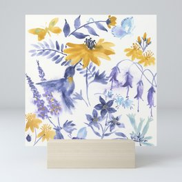 Blue and Yellow Garden Snippets Mini Art Print