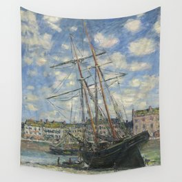 Claude Monet - Boats Lying at Low Tide at Facamp Wall Tapestry