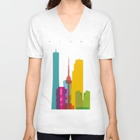 seoul V-neck T-shirts featuring Shapes of Seoul accurate to scale by Glen Gould
