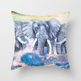 Elephants in crashing waves Throw Pillow