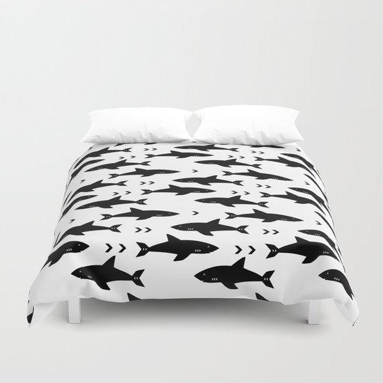 Sharks - shark week trendy black and white minimal kids pattern print Duvet Cover