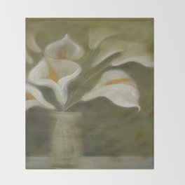 Calla Cut Flowers In A Vase Throw Blanket