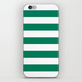 Spanish viridian - solid color - white stripes pattern iPhone Skin