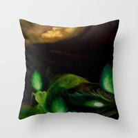ohm Throw Pillows featuring OHM by Angelica Gonzalez Donaire