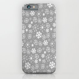 Snowflake Snowstorm In Silver Grey iPhone Case