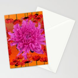 SURREAL MODERN LILAC MUM RED FLOWERS ART Stationery Cards