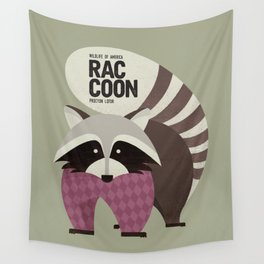 Hello Raccoon Wall Tapestry
