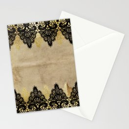 Elegance- Ornament black and gold lace on grunge paper backround Stationery Cards