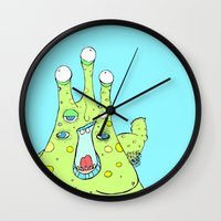 larry Wall Clocks featuring Hairy Larry by Motherlyn