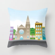 Park Slope Skyline (Color) Throw Pillow