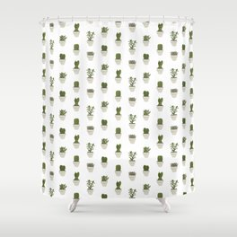 Cacti & Succulents - White Shower Curtain
