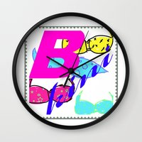 bikini Wall Clocks featuring bikini by Mike van der Hoorn