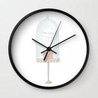 happy birthday Wall Clocks featuring Happy birthday by Babiole Design