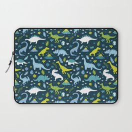 Kawaii Dinosaurs in Blue + Green Laptop Sleeve