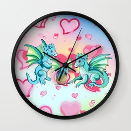 Lots of hearts and a cartoon family of dragons Wall Clock