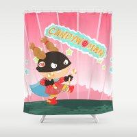 superheros Shower Curtains featuring Candywoman by Alapapaju