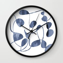 Organic abstract watercolor in blue Wall Clock