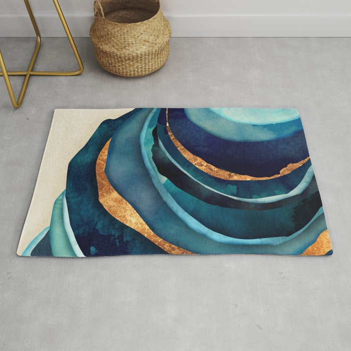 Abstract Blue With Gold Rug By