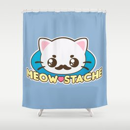 Meow-Stache Shower Curtain