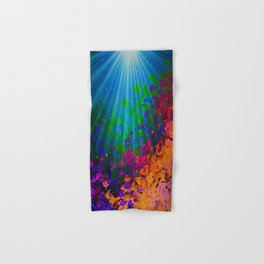 UNDER THE SEA Bold Colorful Abstract Acrylic Painting Mermaid Ocean Waves Splash Water Rainbow Ombre Hand & Bath Towel