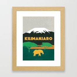 Kilimanjaro Tanzania, travel illustration Framed Art Print