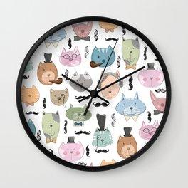 Aristocats Seamless Pattern Wall Clock