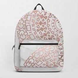 Marble mandala - beaded rose gold on white Backpack
