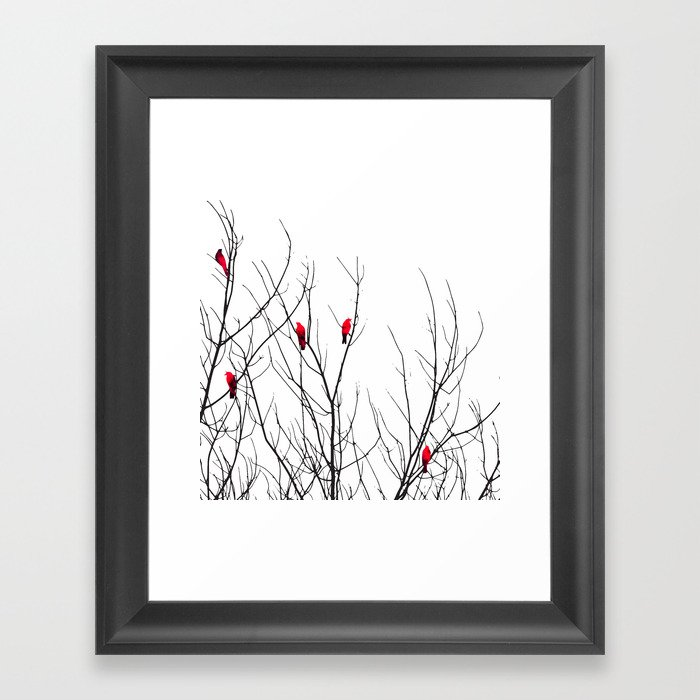 Artistic Bright Red Birds on Tree Branches Gerahmter Kunstdruck