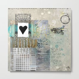 Blue & Grey Heart Abstract Art Collage Metal Print
