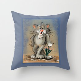 CAT WITH UMBRELLA Throw Pillow
