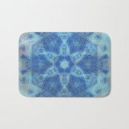 Wispy fairy kaleidoscope in blue Bath Mat