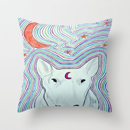 The dog and the moon Throw Pillow