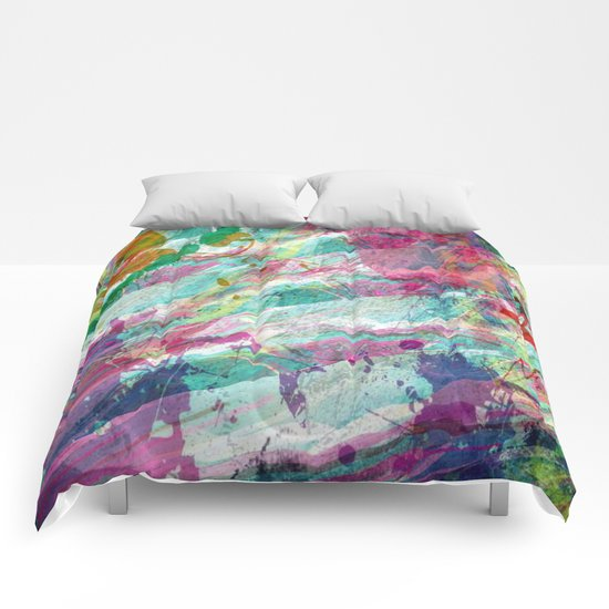 Bright Color Splash Abstract Comforters