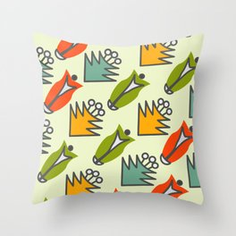 Retro floral shapes Throw Pillow