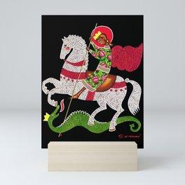 modern folk icon - Saint George Mini Art Print