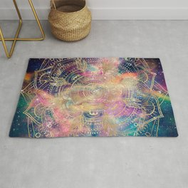 Stylish Gold mandala watercolor & Nebula Colorful Design Rug