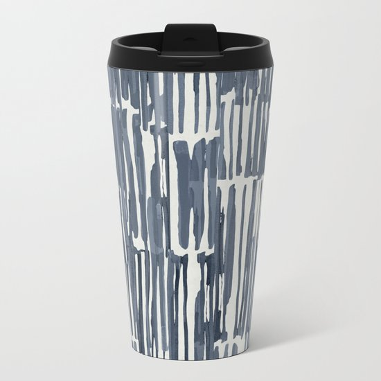 Simply Bamboo Brushstroke Indigo Blue on Lunar Gray Metal Travel Mug